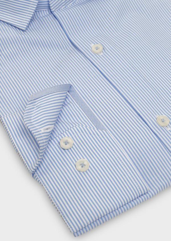 Chemise habillée Slim en popeline de coton rayée bleue - Father and Sons 5416