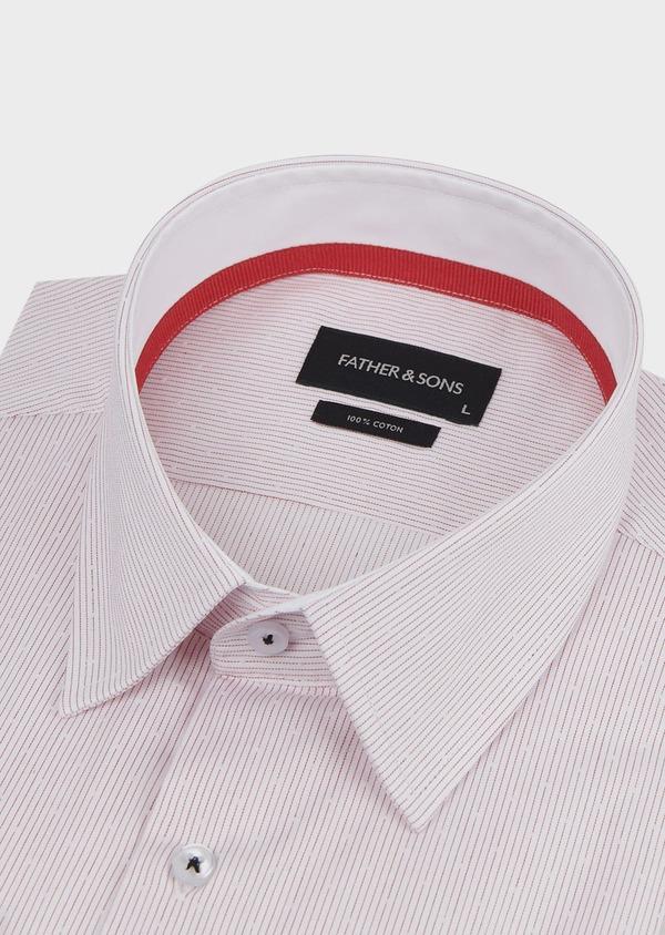 Chemise habillée Slim en popeline de coton rayée rose - Father and Sons 5142