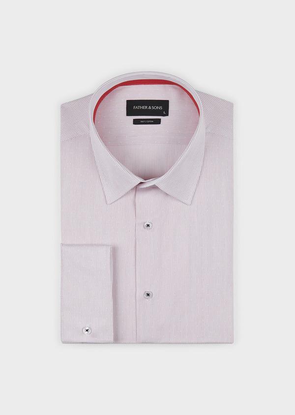 Chemise habillée Slim en popeline de coton rayée rose - Father and Sons 5140