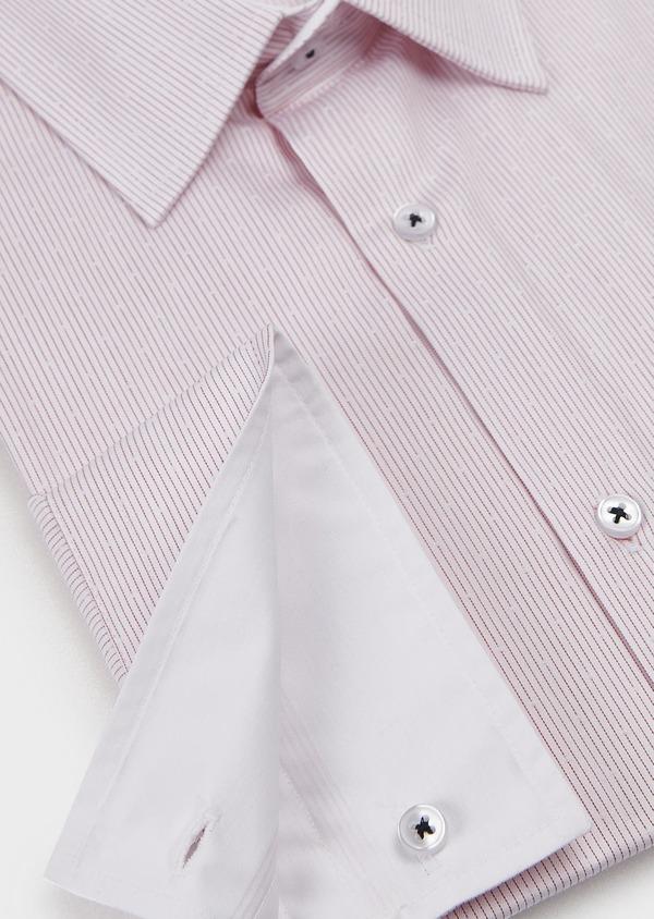 Chemise habillée Slim en popeline de coton rayée rose - Father and Sons 5143