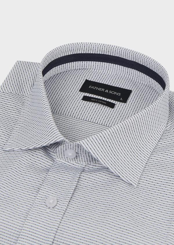 Chemise habillée Slim en façonné de coton rayee gris - Father and Sons 5149