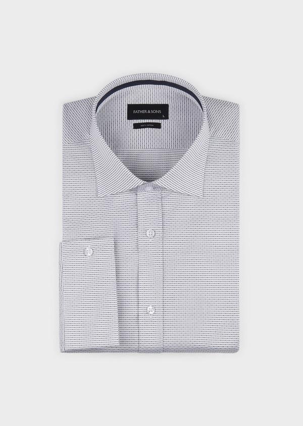 Chemise habillée Slim en façonné de coton rayee gris - Father and Sons 5147