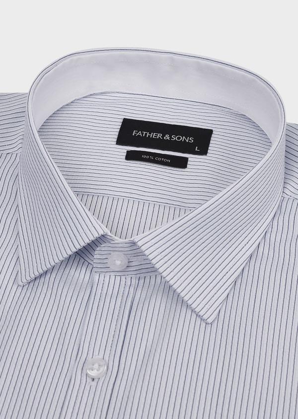 Chemise habillée Slim en coton façonné rayée noire - Father and Sons 5177