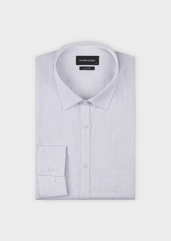 Chemise habillée Slim en coton façonné rayée noire - Father and Sons 5175
