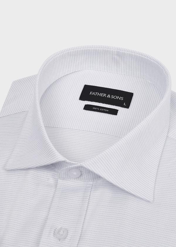 Chemise habillée Slim en coton façonné à pointillés gris - Father and Sons 5184