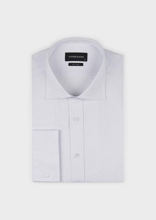 Chemise habillée Slim en coton façonné à pointillés gris - Father and Sons 5182