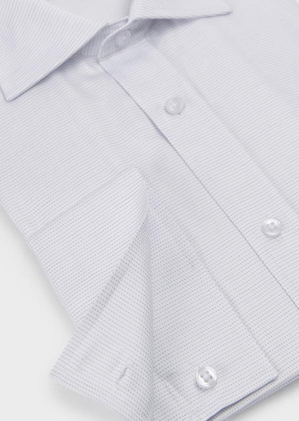 Chemise habillée Slim en coton façonné à pointillés gris - Father and Sons 5185