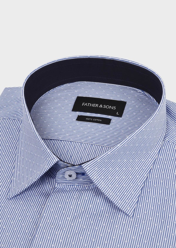 Chemise habillée Slim en coton rayée bleue - Father and Sons 5163