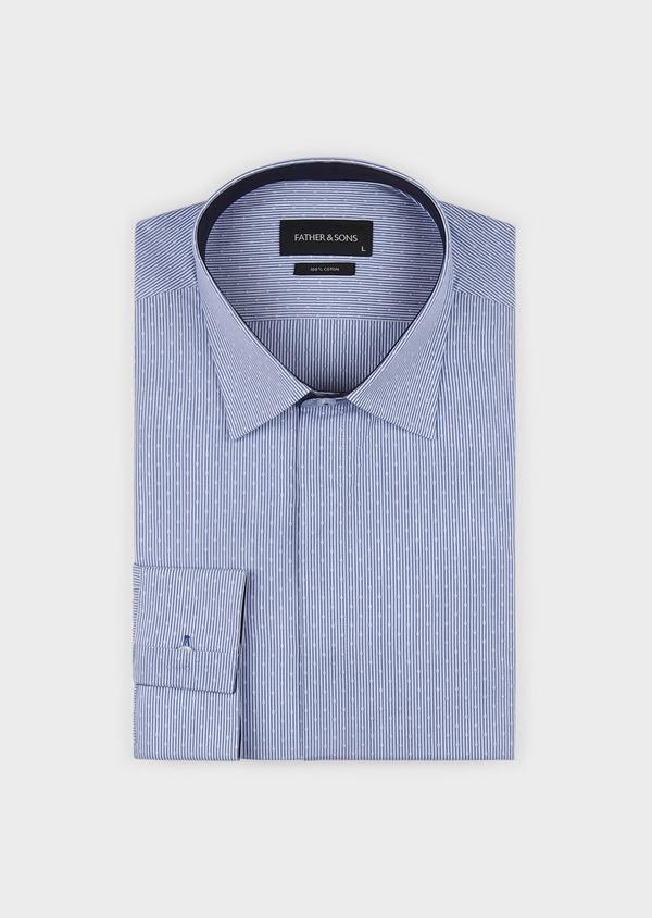 Chemise habillée Slim en coton rayée bleue - Father and Sons 5161