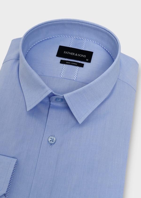 Chemise habillée Slim en popeline de coton uni bleu azur - Father and Sons 5422