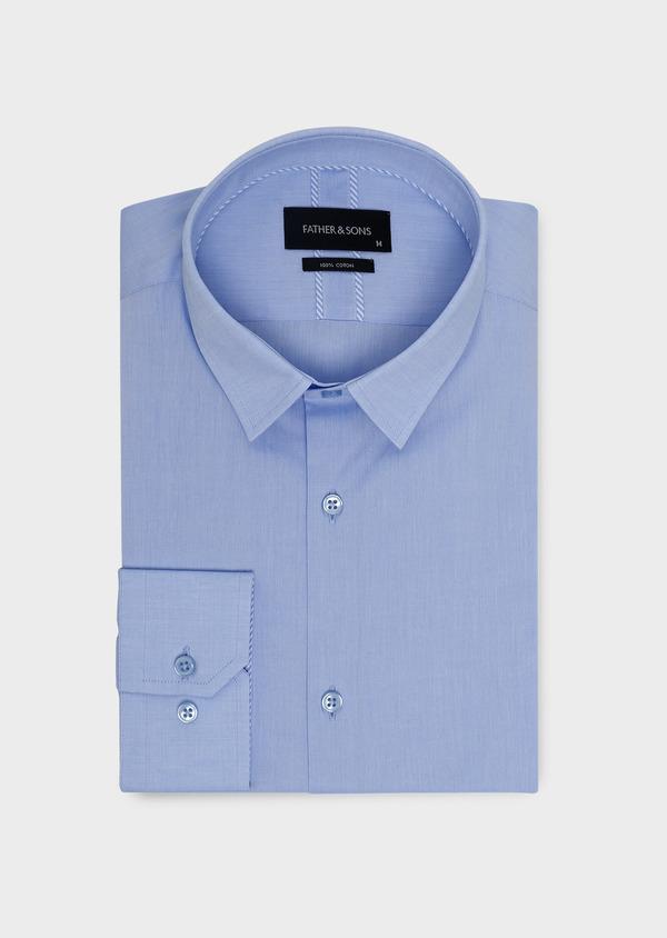 Chemise habillée Slim en popeline de coton uni bleu azur - Father and Sons 5420