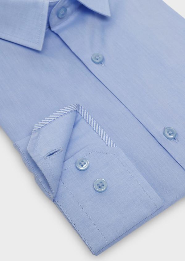 Chemise habillée Slim en popeline de coton uni bleu azur - Father and Sons 5423