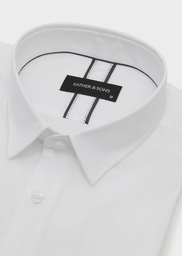 Chemise habillée Slim en popeline de coton uni blanc - Father and Sons 5212