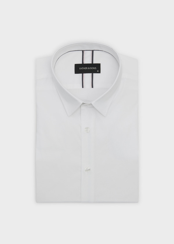 Chemise habillée Slim en popeline de coton uni blanc - Father and Sons 5210