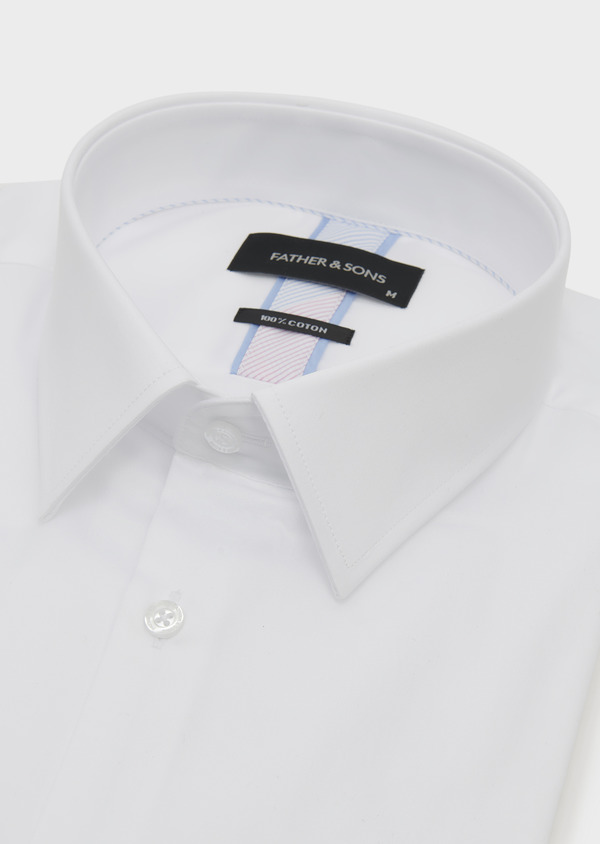 Chemise habillée Slim en satin uni blanc - Father and Sons 5275