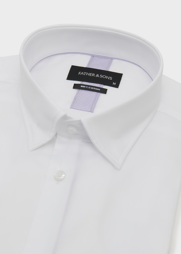 Chemise habillée Slim en satin uni blanc - Father and Sons 5310
