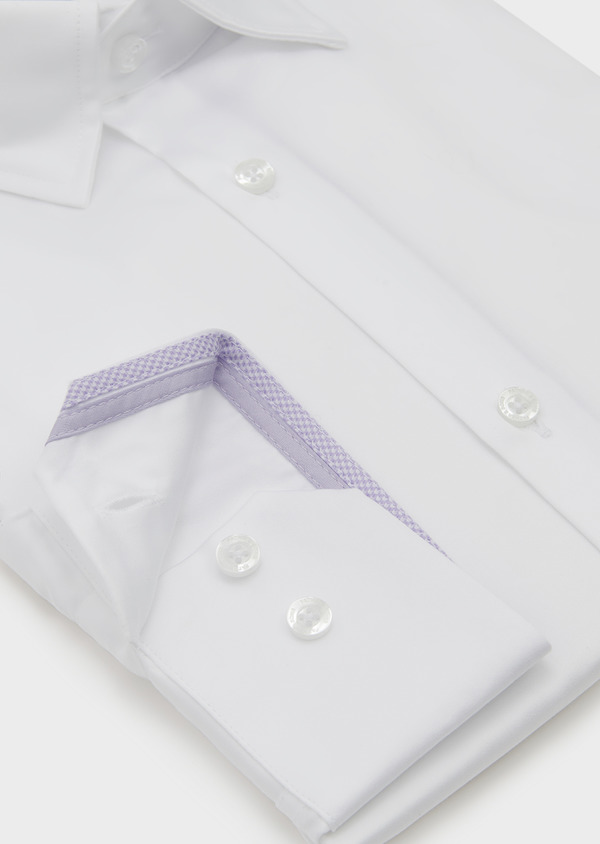 Chemise habillée Slim en satin uni blanc - Father and Sons 5311
