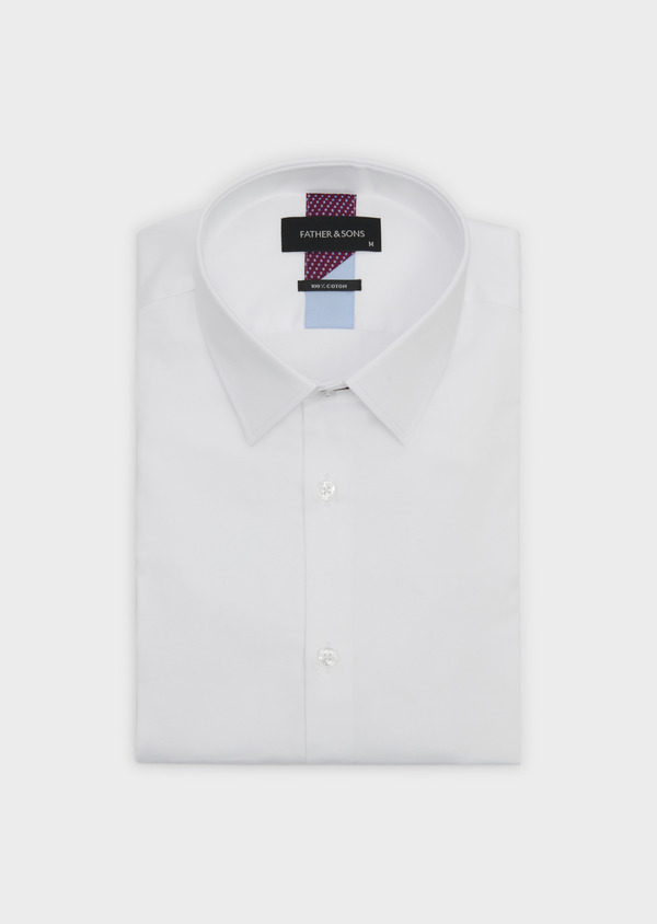 Chemise habillée Slim en satin uni blanc - Father and Sons 5357