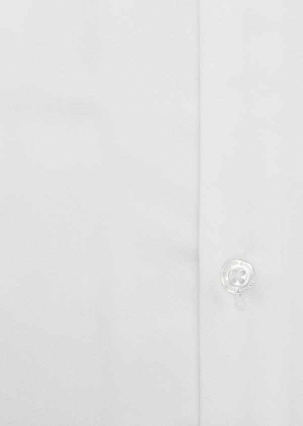 Chemise habillée Slim en satin blanc avec liseré bleu - Father and Sons 5386