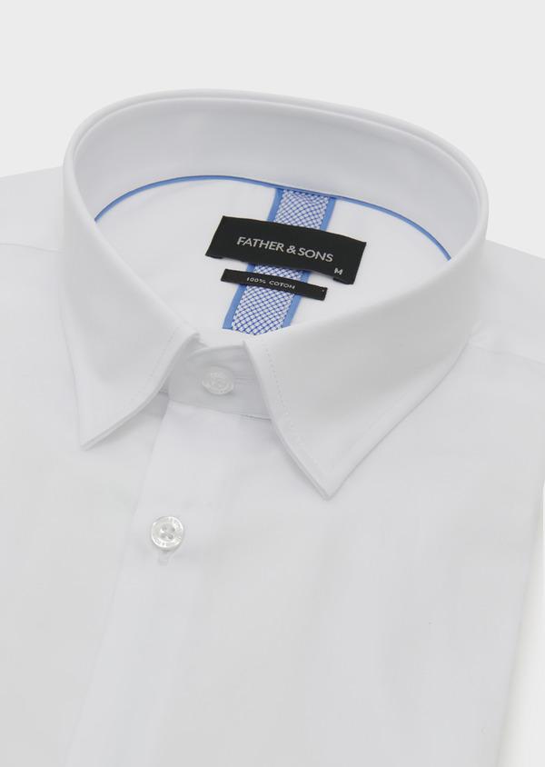 Chemise habillée Slim en satin blanc avec liseré bleu - Father and Sons 5387