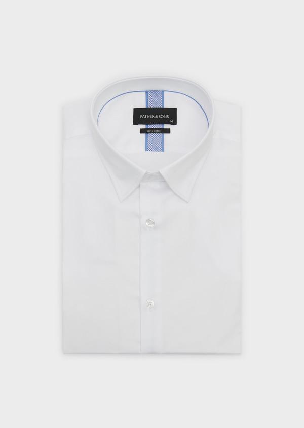 Chemise habillée Slim en satin blanc avec liseré bleu - Father and Sons 5385