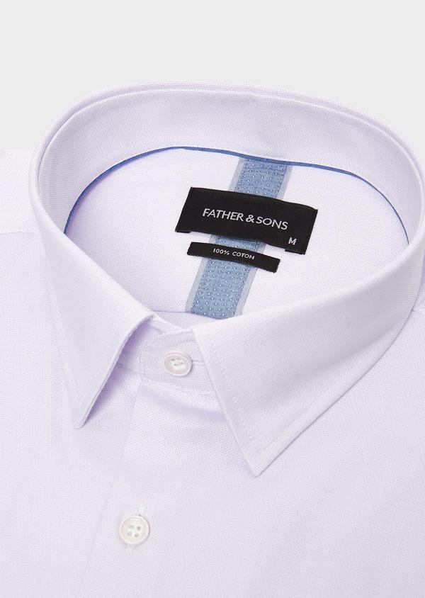 Chemise habillée Slim en coton natté violet - Father and Sons 5345