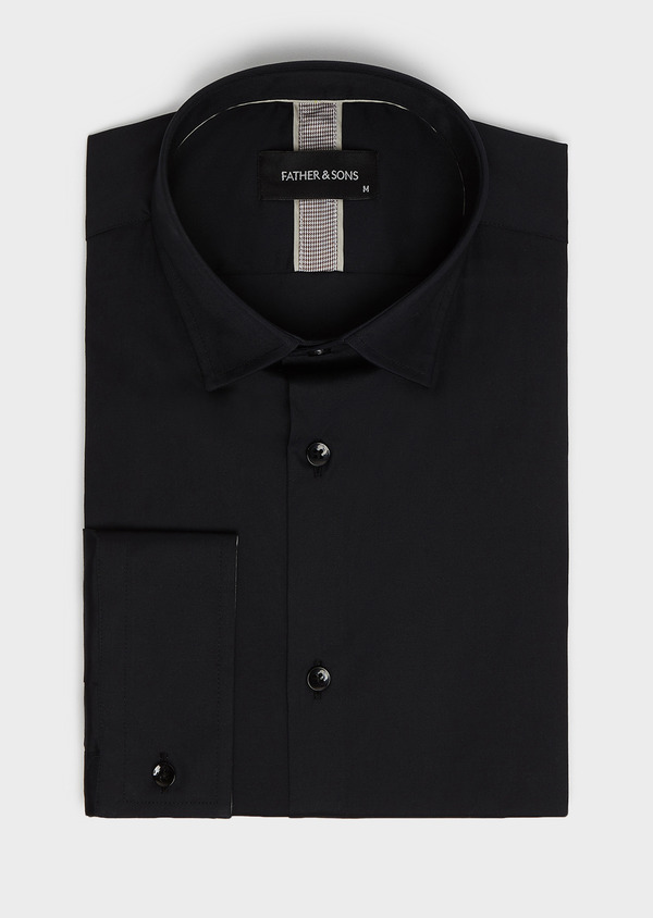 Chemise habillée Slim en popeline de coton uni noir - Father and Sons 8039
