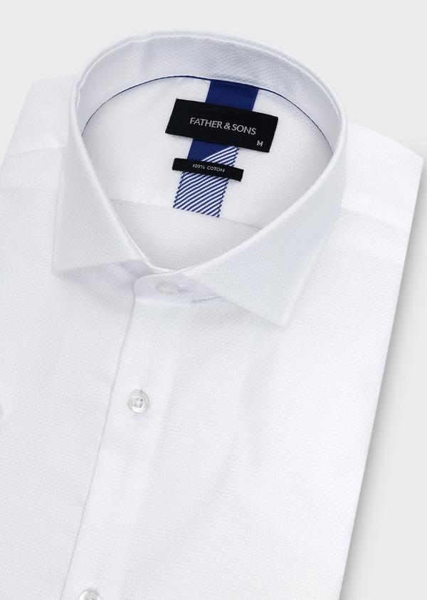 Chemise manches courtes Regular en façonné de coton uni blanc - Father and Sons 5093