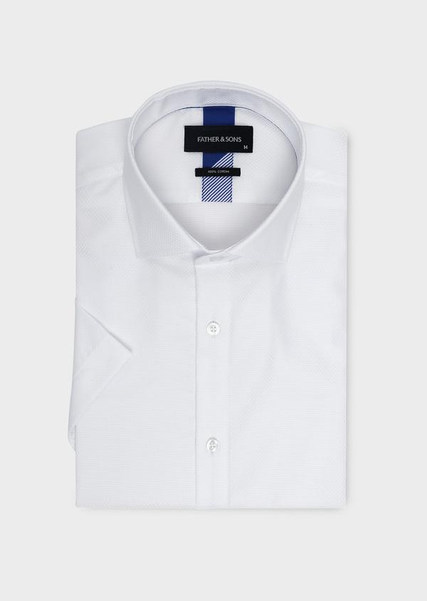 Chemise manches courtes Regular en façonné de coton uni blanc - Father and Sons 5091