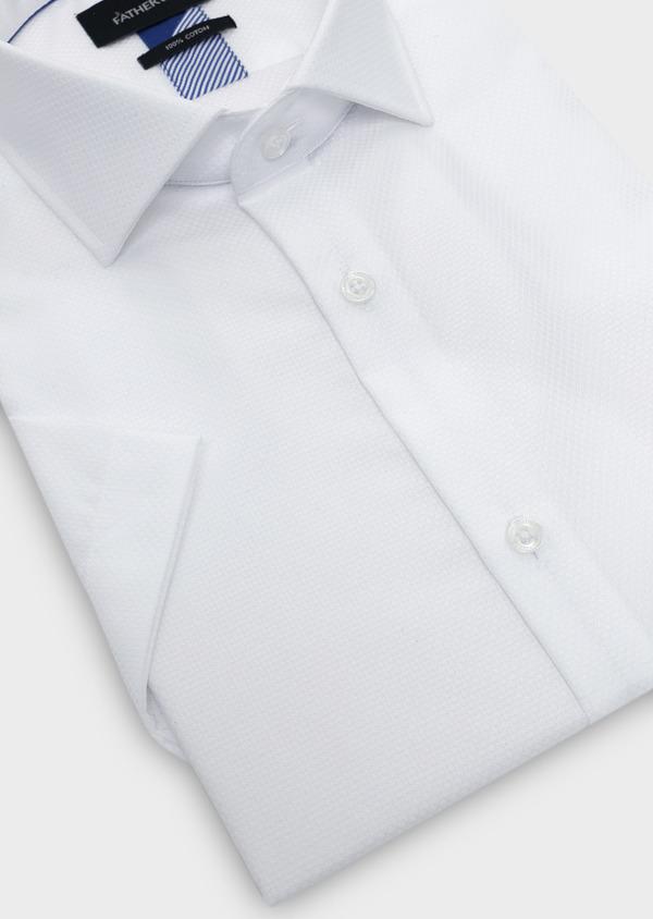 Chemise manches courtes Regular en façonné de coton uni blanc - Father and Sons 5094
