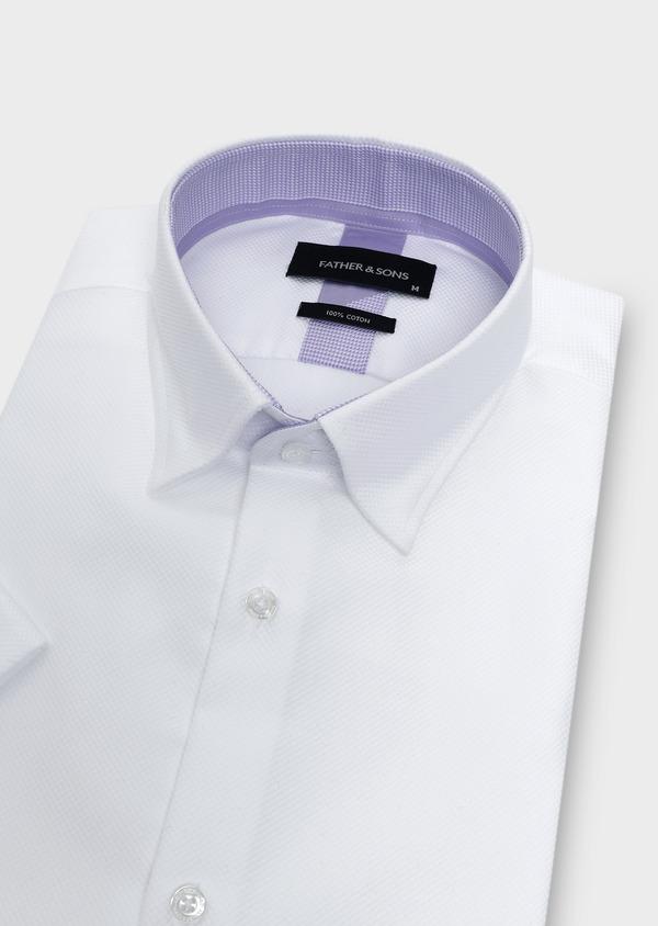 Chemise manches courtes Slim en façonné de coton blanc - Father and Sons 5100