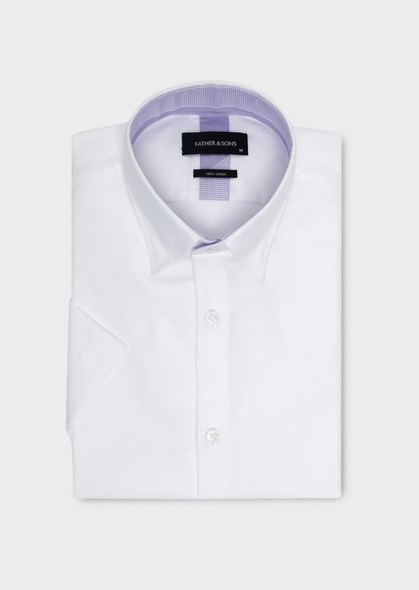 Chemise manches courtes Slim en façonné de coton blanc - Father and Sons 5098