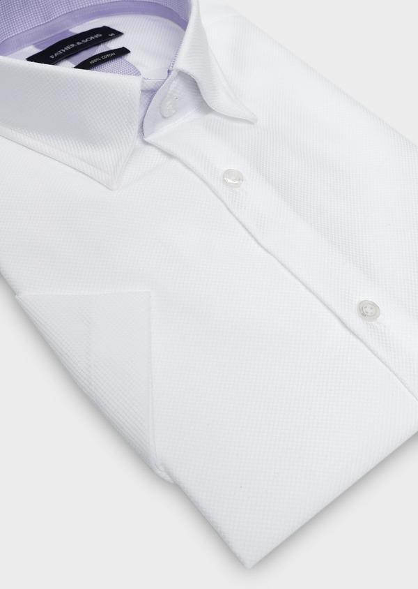 Chemise manches courtes Slim en façonné de coton blanc - Father and Sons 5101