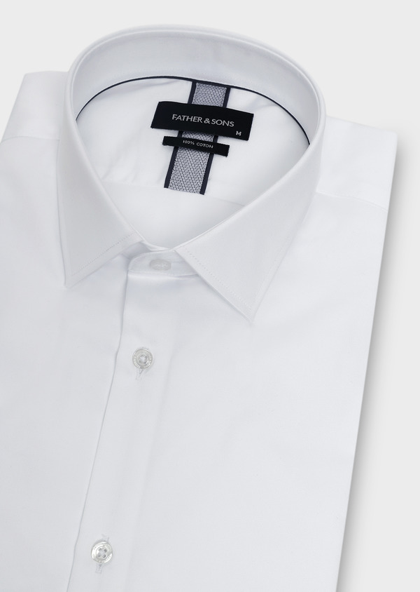 Chemise manches courtes Slim en satin uni blanc - Father and Sons 8027