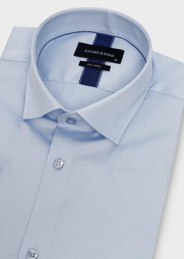 Chemise manches courtes Slim en satin uni bleu ciel - Father and Sons 8034