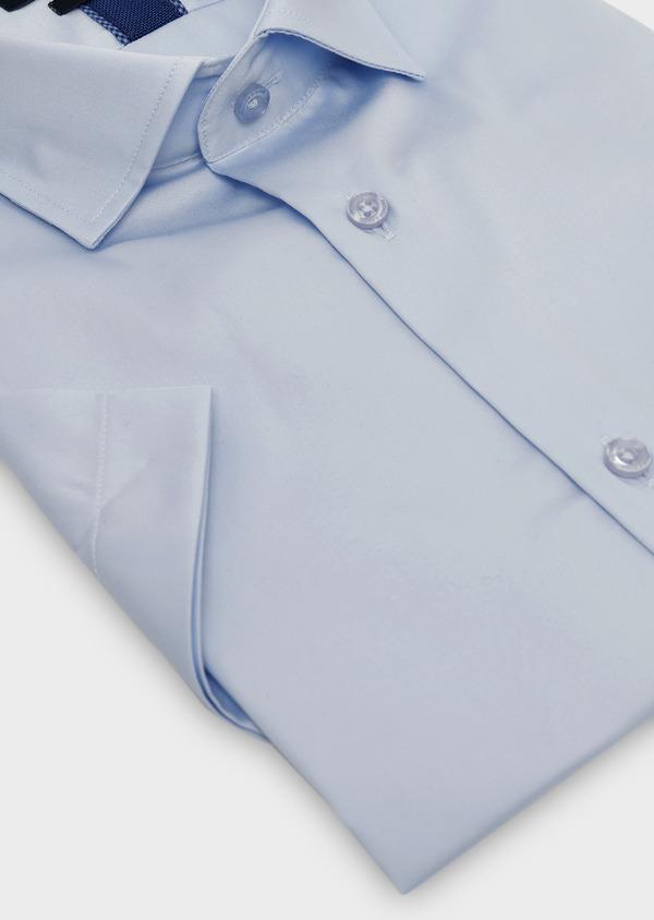 Chemise manches courtes Slim en satin uni bleu ciel - Father and Sons 8035