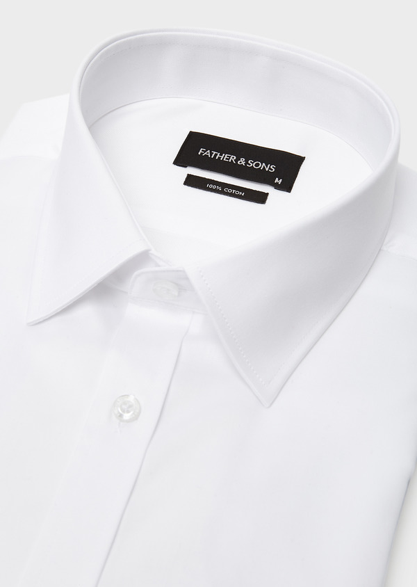 Chemise habillée Regular en coton sergé uni blanc - Father and Sons 8598