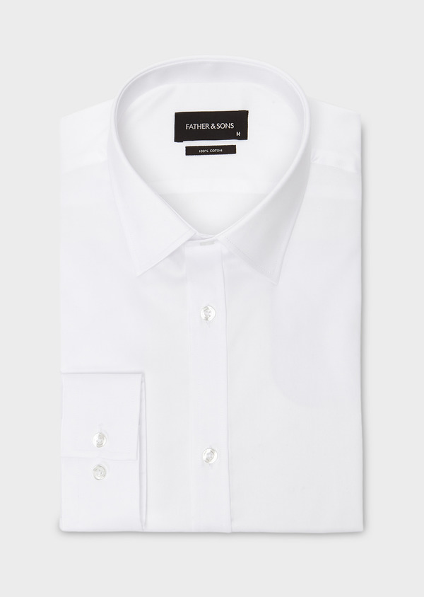 Chemise habillée Regular en coton sergé uni blanc - Father and Sons 8596