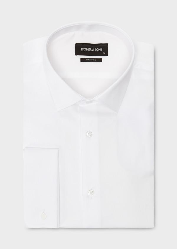 Chemise habillée Slim en satin blanc à poignets mousquetaires - Father and Sons 8624