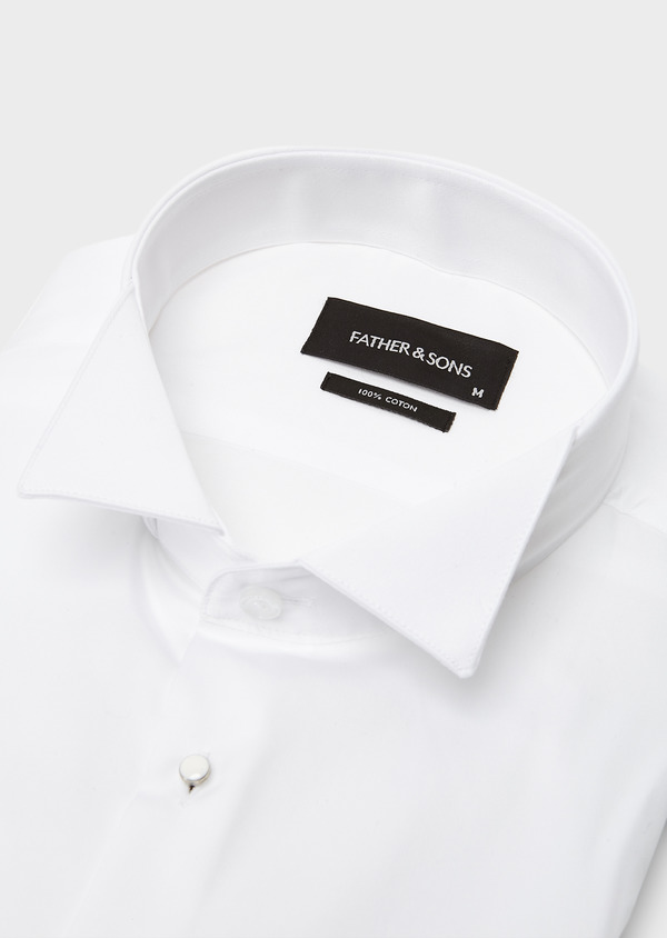 Chemise habillée Slim en satin blanc à col cassé - Father and Sons 8633