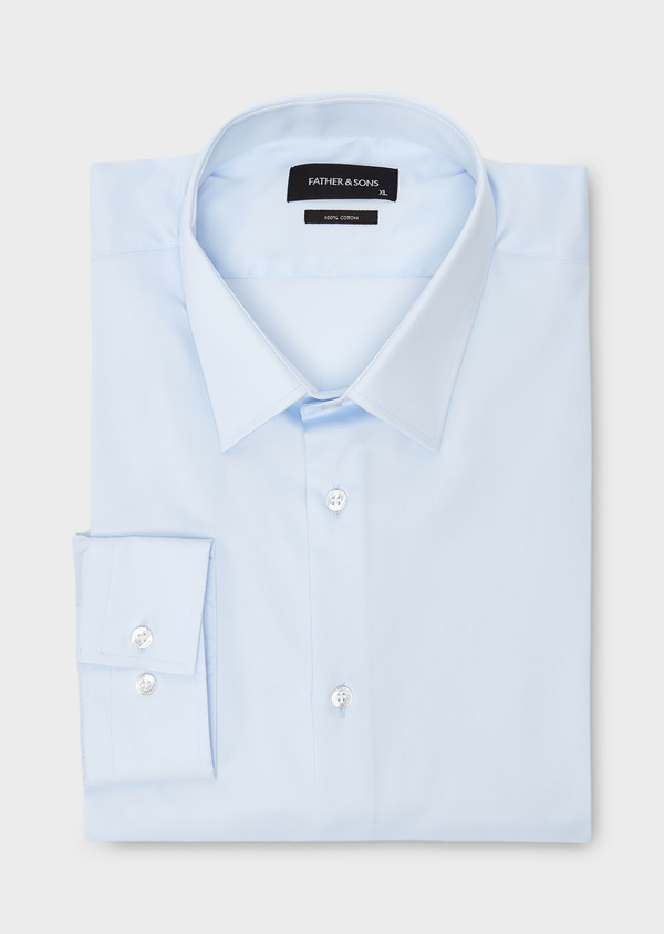 Chemise habillée Slim en satin uni bleue claire - Father and Sons 8617
