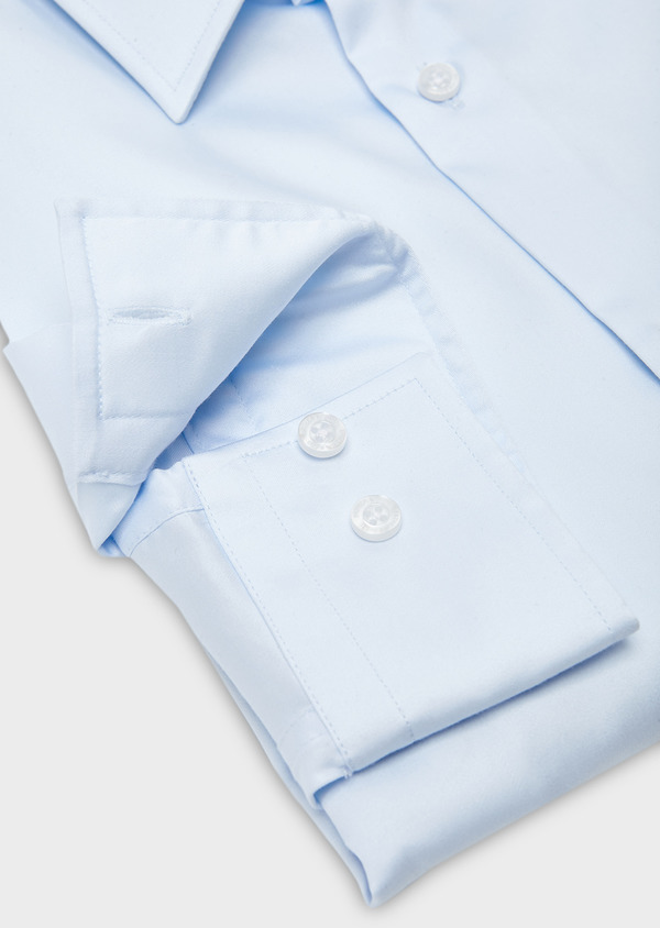 Chemise habillée Slim en satin uni bleue claire - Father and Sons 8620