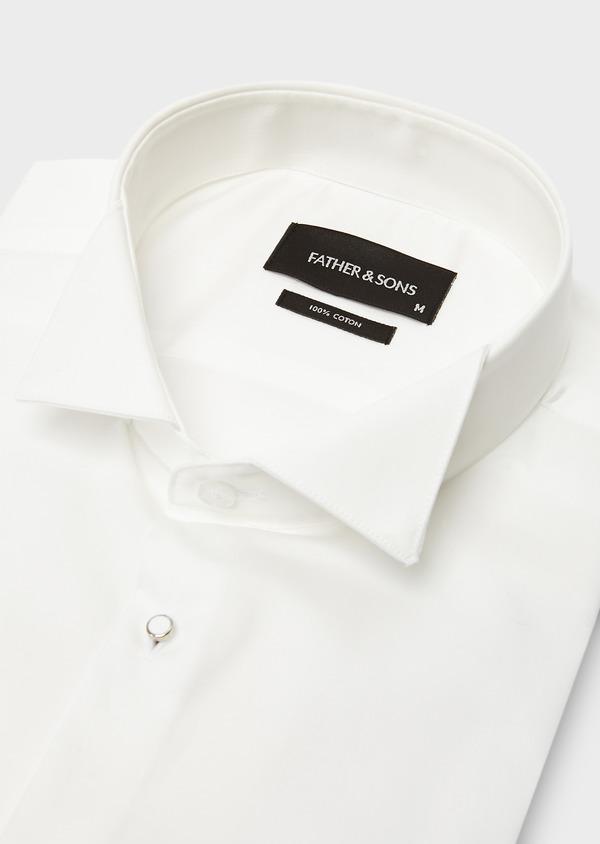 Chemise habillée Slim en satin écru à col cassé - Father and Sons 8640