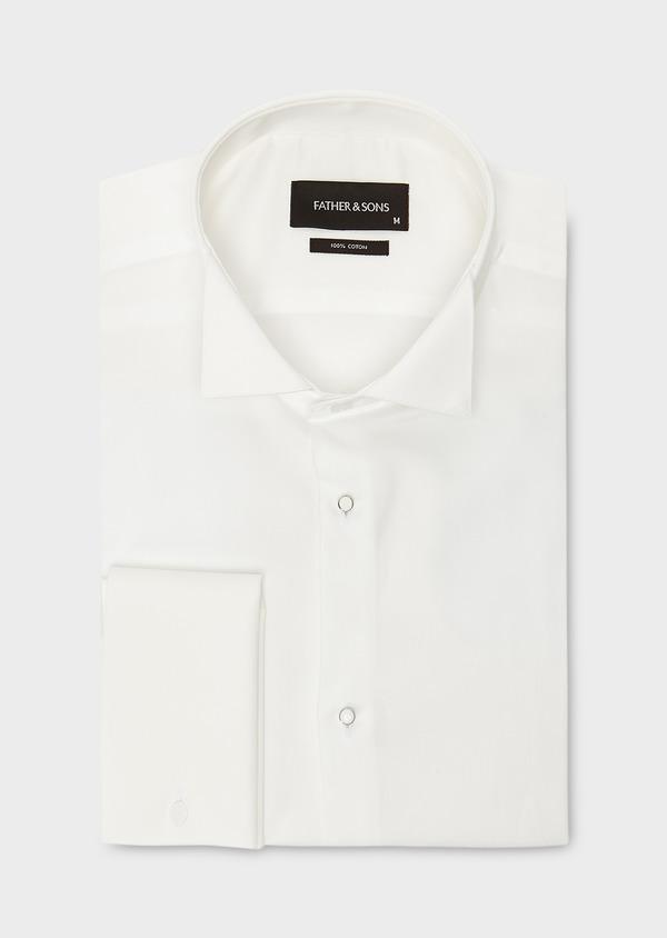 Chemise habillée Slim en satin écru à col cassé - Father and Sons 8638