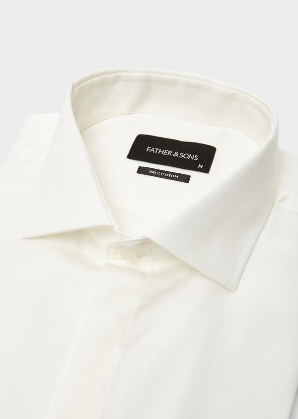 Chemise habillée Slim en coton sergé écru à col italien - Father and Sons 8647