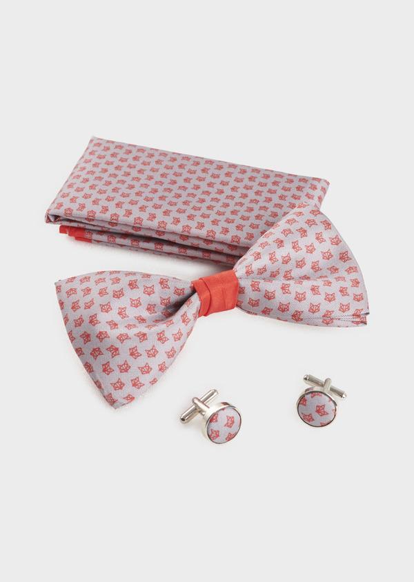 Coffret noeud-papillon, pochette et boutons de manchettes gris clair et rouge - Father and Sons 5659
