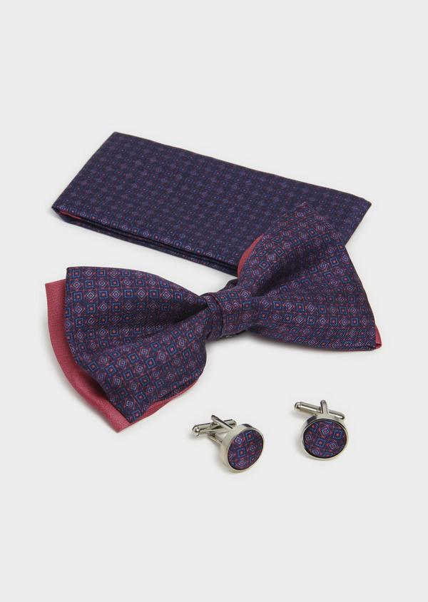 Coffret noeud-papillon, pochette et boutons de manchettes bleu indigo et bordeaux - Father and Sons 5667