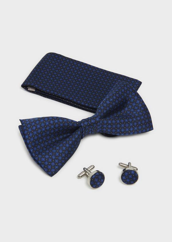 Coffret noeud-papillon, pochette et boutons de manchettes marine et bleu - Father and Sons 5663