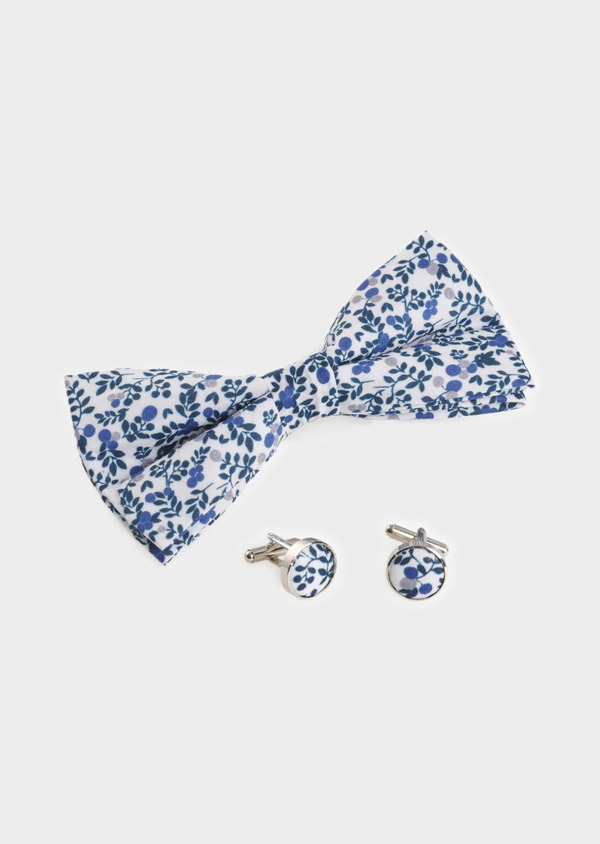 Coffret noeud-papillon et boutons de manchettes bleu et gris clair - Father and Sons 5651