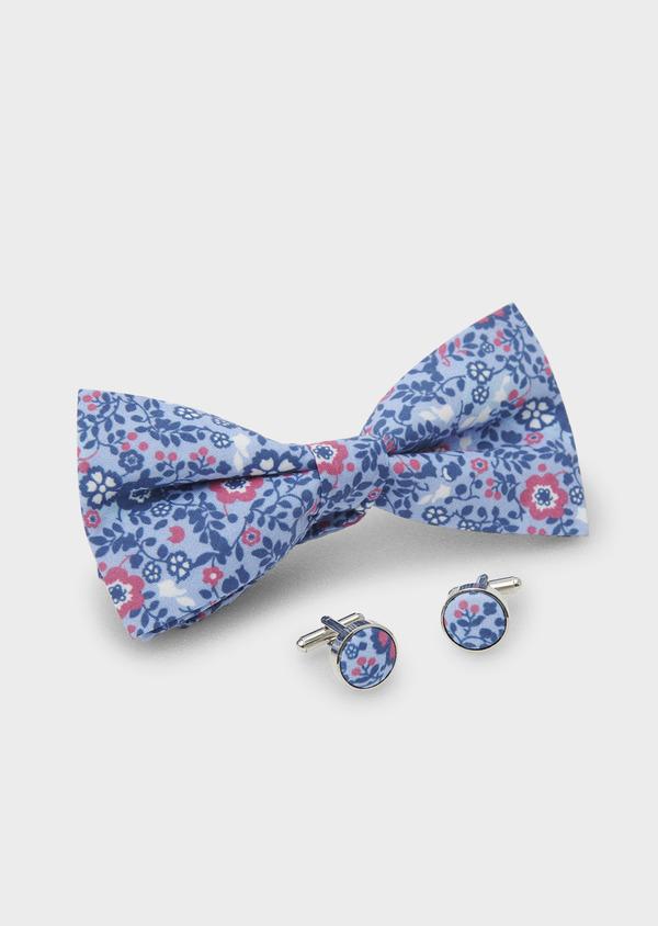 Coffret noeud-papillon et boutons de manchettes bleu clair et rose - Father and Sons 5655